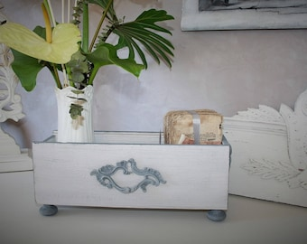 Styled from a wine crate storage box