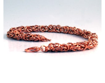 Copper Chainmaille Bracelet, Byzantine