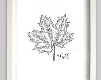 Maple Leaf Fall Print | Fall | Autumn Home Decor | Fall Decor | Instant Download | Maple Leaf | Printable | 8x10 | Wall Art | Seasonal Art