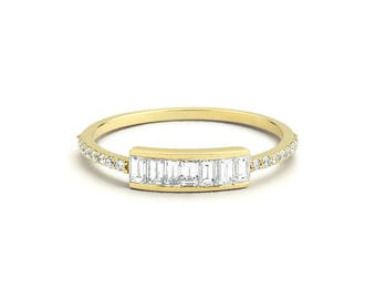 Diamond Wedding Band / Diamond Baguette Ring in 14k Gold / Birthday Gift for Her / Holiday Gift / Graduation Gift