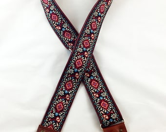 Red and Cream Floral Ribbon Guitar Strap