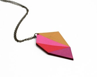 Geometric polygon wooden necklace - mustard, pink, red, purple - minimalist, modern jewelry - color blocking