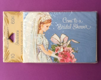 NIP Vintage Bridal Shower Invitations // 1960's Retro Mid-Century Unopened Unmarked Unsigned NOS // Pretty Bride Wedding Marriage