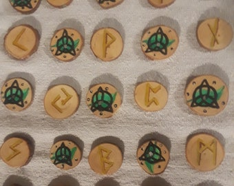 Hand Painted Rosewood Celtic Runes
