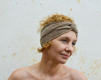 Beige turban, knitted headband, oatmeal bandana, ear warmer, winter accessory