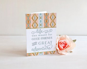 Bridesmaid note cards. Best Friend Cards with gray envelopes. Adventure Notecard. Good Friend Card. Tribal Bridesmaid Card. Aztec Cards.