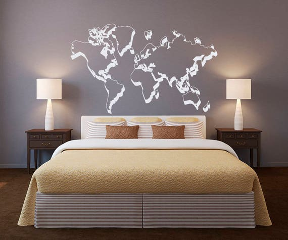 World map outlines wall decal world map wall decor outline gumiabroncs Image collections