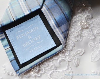 Something Blue • Personalized Groom Tie Patch • Small Wedding Dress Label • 2nd Anniversary Gift • Cotton Anniversary Gift