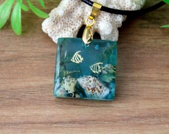Natural sea shell, pendant for women, marine life pendant, pendant lichen, pendant white coral, seabed pendant, pendant algae, ocean reef