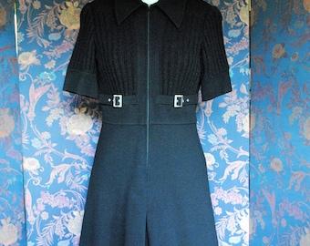 Black dress 100% wool --1970
