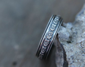 Sterling silver ring - floral band - oxidized or bright - simple band - wedding band - minimalist - vintage style