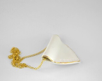 Gold and white geometric porcelain necklace - modern minimalist jewelry made in Spain