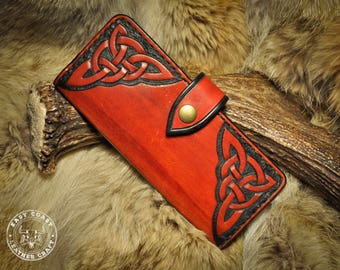 DISCOUNTED SALE Leather Long Wallet - Celtic Knotwork
