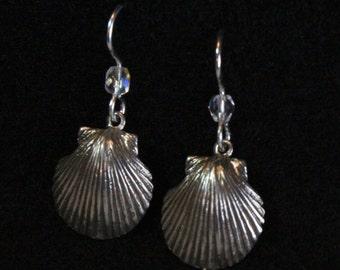 Scallop Shell Earrings - Sterling Silver
