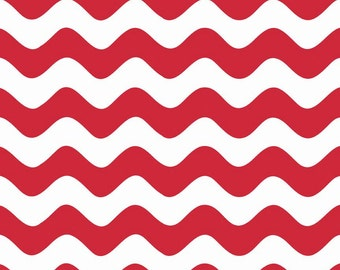 "WAVE ~ Red and White ~ 100% Cotton Fabric ~ 1/2 yard ~ 18"" x 44"" ~ from Riley Blake ~ C415-80"