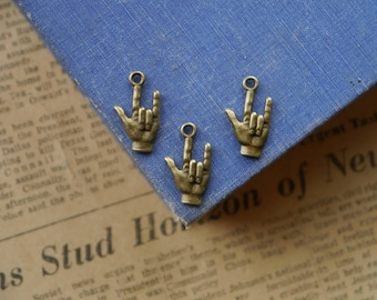 10 pcs Antique Bronze Sign Language I Love You Charms 22mm (BC2957)