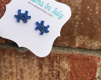 Autism Awareness Earrings, Blue Earrings, Blue Puzzle Earrings, Autism Speaks,Autism Studs, Awareness, Blue,Handmade, Puzzle Piece Studs