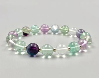 Fluorite Bracelet with Sterling Silver / Fluorite Bead Bracelet / Gemstone Bracelet / Gemstone Jewelry / Handmade Gemstone Jewelry / Jewelry