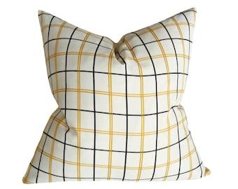 White Window Pane Plaid Pillow Cover, White Black Yellow Cushion Covers, Winter White Pillows, White Black Pillow, Neutral Home Decor, 20x20
