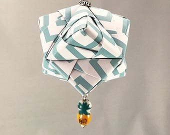 Tropical Blue and White Handmade Origami Christmas/Holiday Ornament with Pineapple Bead