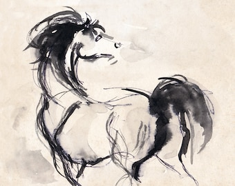 Horse Art - Horse Print - Horse Drawing - Horse Ink Sketch -  Stallion Print - Pen And Ink Arabian Stallion