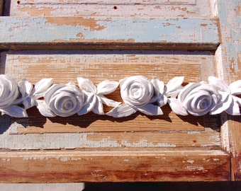Shabby Chic Rose moulding Furniture Appliques * Huge Chic Roses * Flexible * Paintable and Stainable!  2 PC'S  NEW