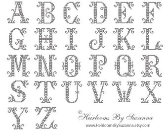 Antique Ornamental Machine Cross Stitch Monogram Set - Machine Embroidery Font Design - Antique Cross Stitch Font - Antique Initials