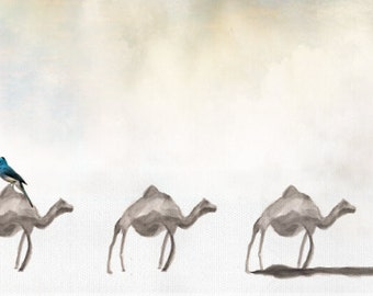 180cmx55cm -camel painting, Panoramic art, Israel desert art, Large canvas, Camels