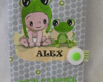 """Protects health record, the frog size finished: 9 """"wide x 71/4"""" tall (22.8 cm x 18.7 cm) size fold 4.5 """"wide (11.5 cm)"""
