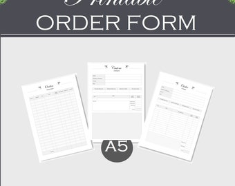 A5 printable order form, and order tracker, small business planner, printable download PDF inserts a5 order form