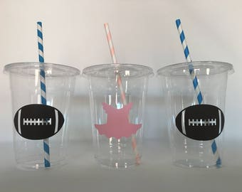 Tutu or touchdown gender reveal party cups, Tutu or Touchdown Baby Shower, Gender Reveal Party Cups