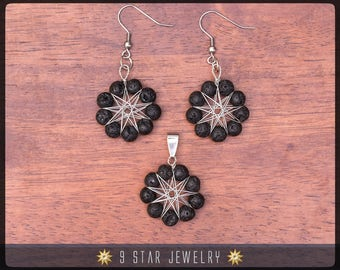 Volcanic Lava Radiant Star Earrings & Pendant - Baha'i 9 Star Gemstone Crystal Wire-wrapped Jewelry Set - BRSE34