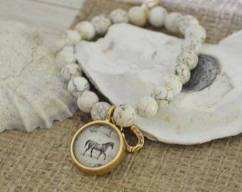 Equestrian Jewelry, Horse Jewelry, Horse Bracelet, Equestrian Bracelet, Beaded Bracelet, Semiprecious Jewelry, Horseshoe Jewelry