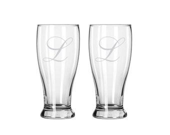 Set of 2 Etched Beer Glasses