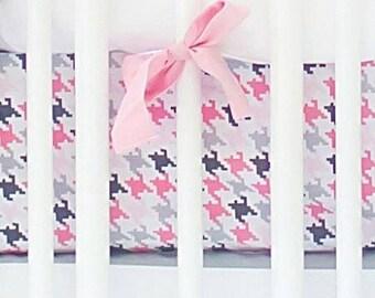 Pink & Gray Paper Moon Crib Baby Bedding Set | Crib Sheet