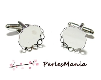 2 support cufflinks wave 31920 platinum silver 14 mm ID