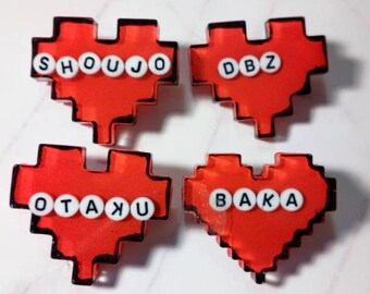 Geeky heart pins