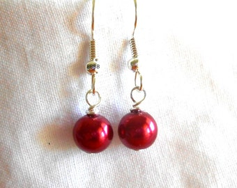 SALE Satin Red Earrings Surgical Steel Hooks Pearl Earrings Drop Earrings Simple Earrings Beaded Earrings 6mm Beads