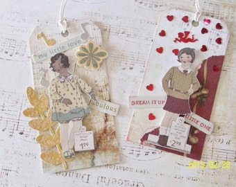 Two Handmade Tags With Repro Vintage Catalog Images