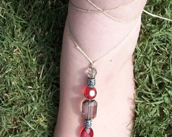 Red and Silver Barefoot Sandals
