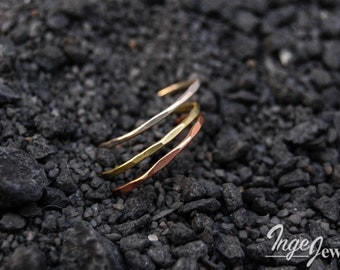 Stacking  rings, set of three, Sterling Silver, Copper and Brass, hammered friendship rings, 1mm skinny rings