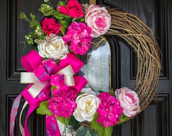 Beautiful Pink Floral Grapevine Wreath-Summer Wreath-Spring Wreath-Mother's Day-Housewarming
