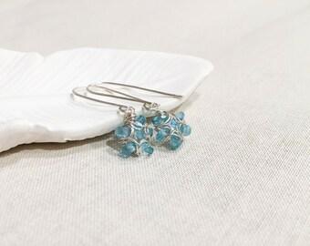 Blue Apatite Flower Drops - Sky Blue Apatite Gemstone Sterling Silver Wire Wrapped Modern Bloom Earrings Light Blue Spring