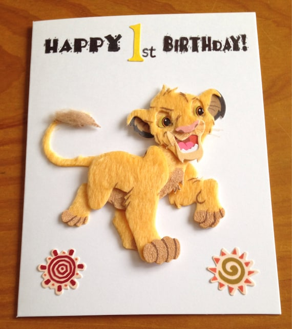 Simba lion king 1st birthday card like this item bookmarktalkfo Images