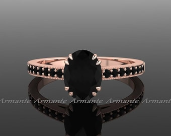 Black Diamond Engagement Ring, Oval Engagement Ring, Vintage Engagement Ring, 14K Rose Gold, Oval Black Diamond Wedding Ring, Re00014r