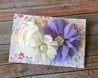 Lavender Headband / Baby Headband / Lavender Baby Headband / Newborn Headband / Infant Headband / Baby Girl Headband / Flower Girl Headband