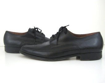 1960s Shoes Mens Black Oxford Shoes Lace up Shoes Leather Shoes 60s Pointed Toe Shoes Black Lace up Shoes Black Leather Shoes
