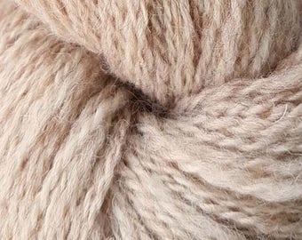 Natural - Handspun Yarn, DK Weight, 100% Light Fawn Shetland - 270 yards