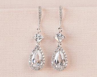 Halo Tear drop Earrings, Bridal Earrings, Rose Gold Crystal Wedding earrings, Wedding earrings, Wedding Jewelry, Alicia Crystal Earrings