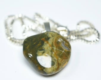 Custom Tumbled Rhyolite Stone Pendant and Necklace - Choose Sterling Silver Chain or Leather Cord - Quantity of 1